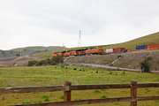Santa Fe Framed Prints - Burlington Northern Santa Fe BNSF Locomotives at Fernandez Ranch California - 5D21043 Framed Print by Wingsdomain Art and Photography