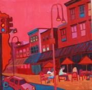 Buy Acrylic Paintings - Burlington VT cafe by Debra Bretton Robinson
