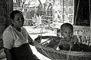 Bamboo House Photo Prints - Burmese grandmother and grandchild Print by RicardMN Photography