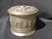 Extinct And Mythical Sculpture Originals - Burmese silver container with high relief chiseled decorations by Burmese silversmith