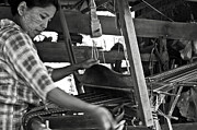 Bamboo House Photos - Burmese woman working with a handloom weaving. by RicardMN Photography
