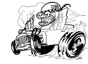 Custom Ford Drawings Metal Prints - Burn Out Metal Print by Big Mike Roate