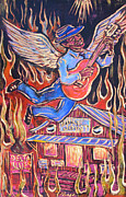 Angel Blues  Posters - Burnin Blue Spirit Poster by Robert Ponzio