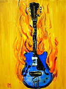 Guitar Drawings Posters - Burnin Blues Poster by Pete Maier