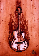 Pete Maier Art - Burnin Guitar II by Pete Maier