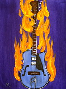 Guitar Drawings Originals - Burnin Guitar III by Pete Maier