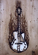 Music Drawings Framed Prints - Burnin Guitar Framed Print by Pete Maier