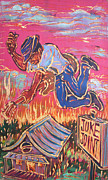 Angel Blues  Painting Prints - Burnin It Up Print by Robert Ponzio