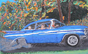 Classic Car Pastels - Burnin Rubber in my Biscayne by D Joseph Aho