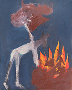 Expressionist Posters - Burning a Stags Head Poster by Edgeworth Johnstone