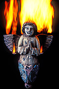 Wood Burning Framed Prints - Burning angel Framed Print by Garry Gay