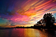 Lines Digital Art Prints - Burning Cotton Candy Flying Through the Sky Print by Matt Molloy