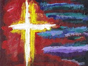 Crucifix Paintings - Burning Cross by Janet Edwards