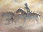Cattle Drives Prints - Burning Daylight Print by Mia DeLode
