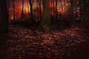 Creepy Digital Art Posters - Burning forest Poster by Nikolina Petolas