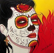 Sugar Skull Posters - Burning Heart  Poster by John S Huerta