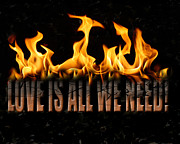 Burning Love Prints - Burning Love digital painting Print by Georgeta Blanaru