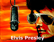 Sideburns Painting Framed Prints - Burning Love Elvis Presley  Framed Print by Mark Moore