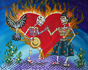 Sugar Skull Posters - Burning Love Frida and Diego Poster by Julie Ellison