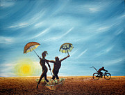 Mountain Bike Paintings - Burning Man - Danseurs De Parasol by Jim Bowers