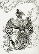 Extinct And Mythical Drawings Prints - Burning Phoenix Print by Lealo Bactorist