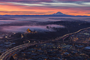 Burning Seattle Sunrise Print by Mike Reid