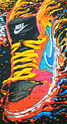 Nike Shoes Prints - Burning to Do It In Portland Print by David Bearden