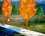 Impressionistic Landscape Pastels - Burning Trees by Ryan Burton