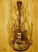 Pete Maier Framed Prints - Burning Vintage Guitar Framed Print by Pete Maier