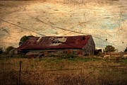 Dilapidated Digital Art - Burnished Texture Barn by Vickie Emms