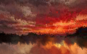 Holley Jacobs Prints - Burnt Sunset Print by Holley Jacobs
