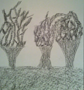 Burnt Drawings - Burnt Trees by Judith Moore