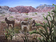Roseann Gilmore Painting Posters - Burros at Red Rock Poster by Roseann Gilmore