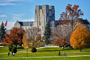 Virginia Tech Prints - Burruss Hall Print by Mitch Cat