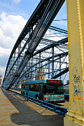 Graffiti Framed Prints - Bus crossing the Smithfield Street Bridge Pittsburgh Pennsylvania Framed Print by Amy Cicconi