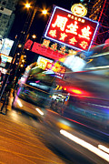 Hong Kong Prints - Bus Race in Mong Kok Print by Lars Ruecker