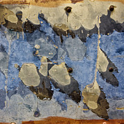 Peeling Paint Prints - Bus Salvage Art in Blue Print by Carol Leigh