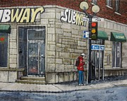 City Of Montreal Painting Prints - Bus Stop on Monk Print by Reb Frost