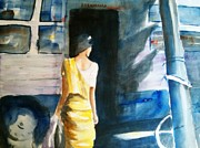 Lifestyle Painting Posters - Bus Stop - Woman Boarding the Bus Poster by Carlin Blahnik