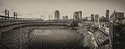 St.louis Cardinals Framed Prints - Busch Stadium Cardinals Sepia Framed Print by David Haskett