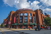 Ball Parks Prints - Busch Stadium Clouds Print by David Haskett