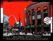 Baseball Digital Art Originals - Busch Stadium by John Freidenberg