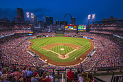 Stan Musial Prints - Busch Stadium Night Game Print by David Haskett