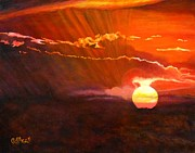 Caroline Street Paintings - Bushveld Sunset by Caroline Street