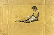 Drapery Prints - Busi Luigi, Study Of A Half-naked Man Print by Everett