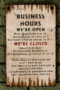 Business Hours Print by Jon Burch Photography