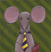 Cute Painting Metal Prints - Business Mouse Metal Print by Christy Beckwith