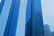 Business Skyscrapers Modern Architecture In Blue Tint Print by Michal Bednarek