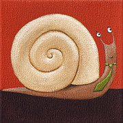 Office Wall Posters - Business Snail Painting Poster by Christy Beckwith