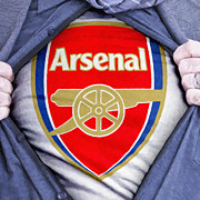 Shirt Digital Art Posters - Businessman Arsenal Fan Poster by Antony McAulay